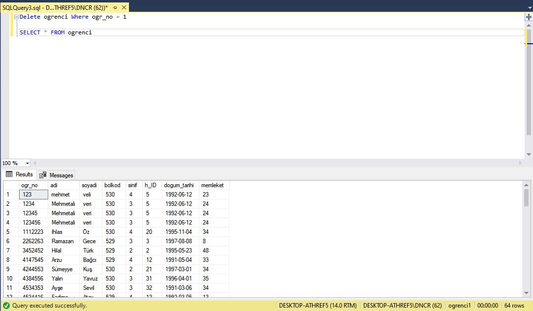 Veritabanı delete komutu örnek ekran görüntüsü